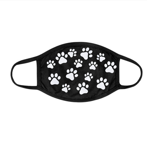 Two Layer Cotton Glitter Multiple Paw Prints Face Mask
