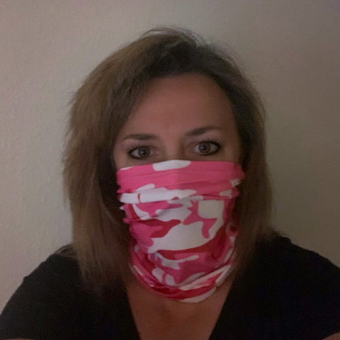 Pink Camo Neck Scarf / Face Mask