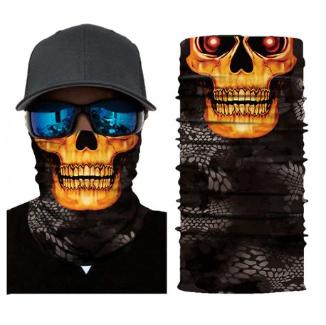 Burnt Yellow Skull Neck Scarf / Face Mask