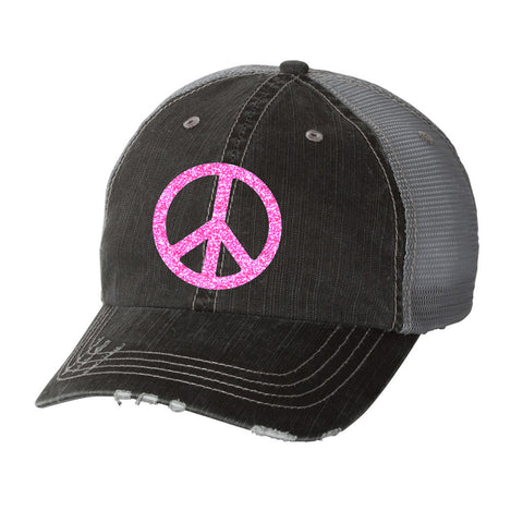 Peace Sign Distressed Ladies Trucker Hat