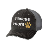 Rescue Mom Distressed Ladies Trucker Hat