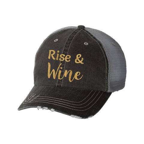 Rise & Wine Distressed Ladies Trucker Hat