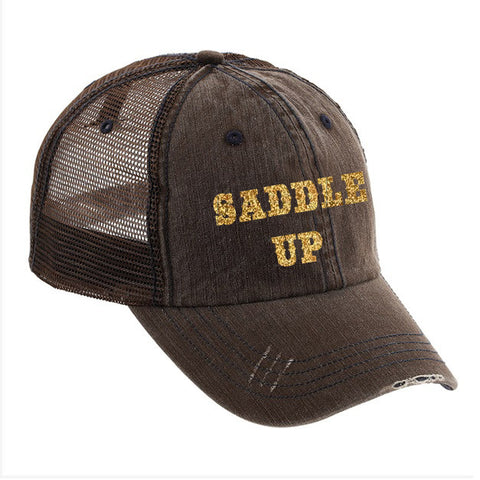 Saddle Up Distressed Ladies Trucker Hat