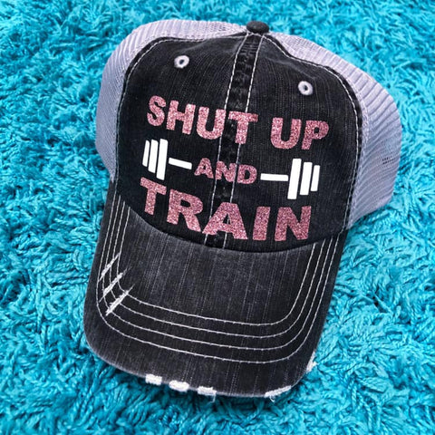 Shut Up and Train Distressed Ladies Trucker Hat