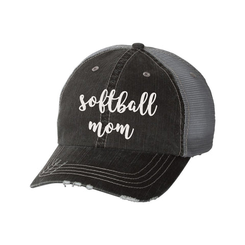 Softball Mom Distressed Ladies Trucker Hat