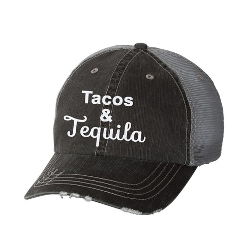 Tacos & Tequila Distressed Ladies Trucker Hat