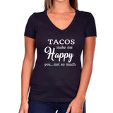 Tacos Make Me Happy...You Not So Much Glitter Ladies Short Sleeve V-Neck Shirt
