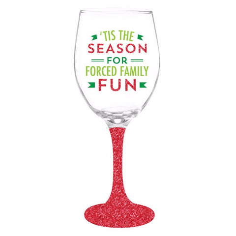 Family Fun Glitter Wine Glass