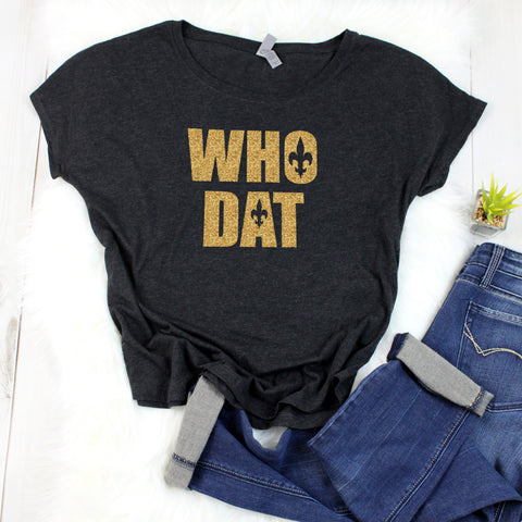 """WHO DAT"" Glitter T-Shirt"