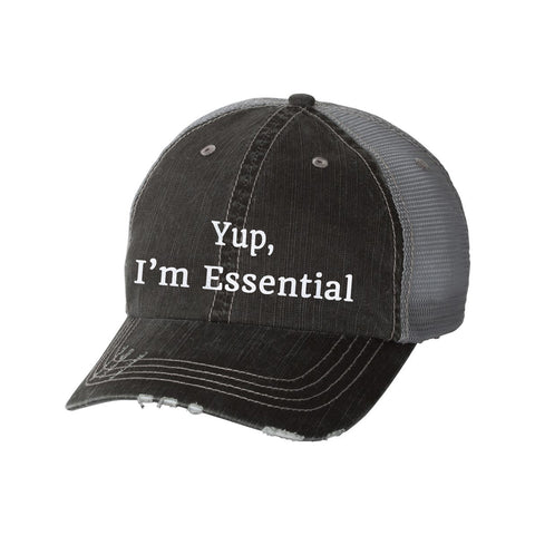 Yup, I'm Essential Distressed Ladies Trucker Hat