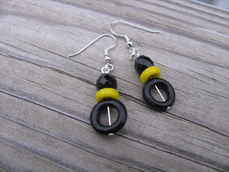 Black and Yellow, Wood and Glass Beaded Earrings
