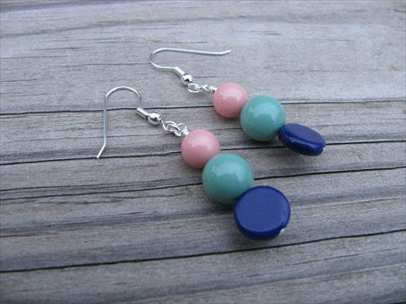Blue, Seafoam, Coral Pink- Beaded Earrings