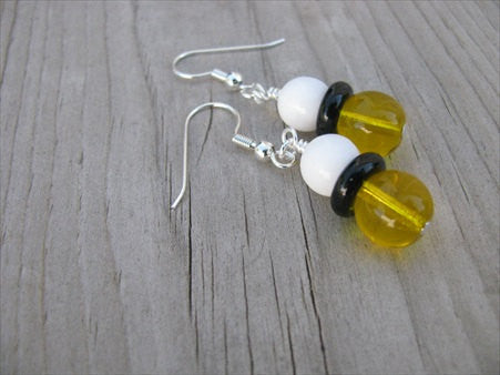 White, Black and Yellow, Glass Beaded Earrings