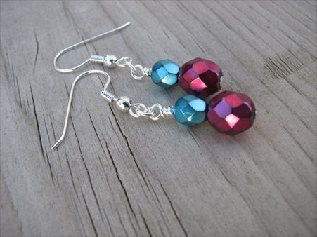 Metallic Red and Metallic Turquoise- Beaded Earrings- Glass
