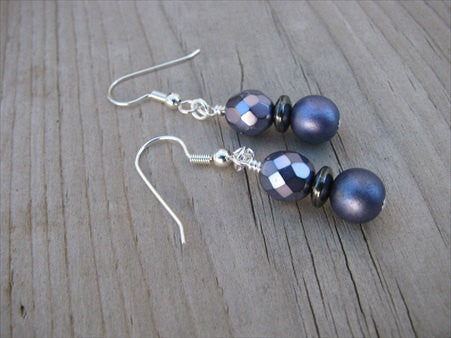 Purple Glass Beaded Earrings