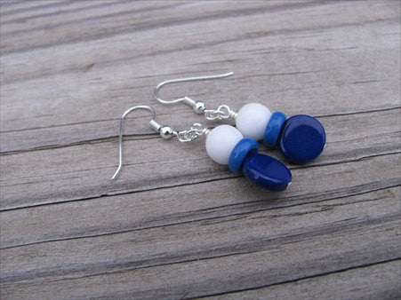 Blue and White Glass Beaded Earrings