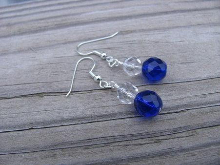 Deep Blue and Clear Glass Beaded Earrings