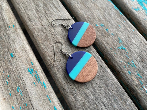 Wood, Blue, and Turquoise/Mint Acrylic Earrings