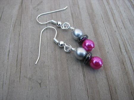 Hot Pink, Hematite, and Silver Glass Beaded Earrings