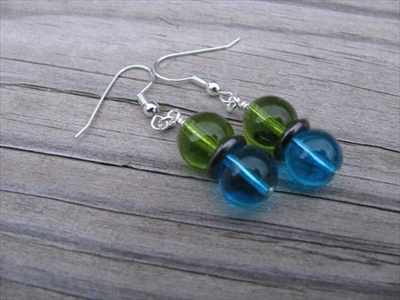 Blue, Black, and Green Glass Beaded Earrings