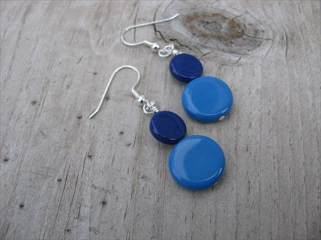 Blue Glass Beaded Earrings