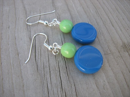 Blue Green Glass Beaded Earrings