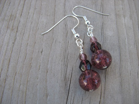 Amethyst Purple Glass Beaded Earrings