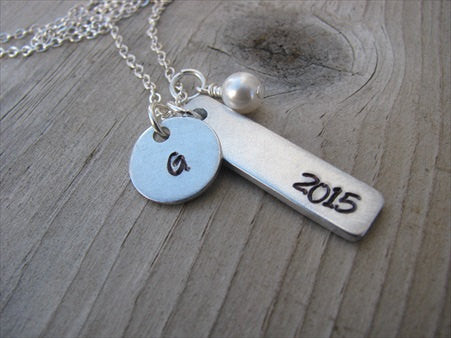 "Graduation Necklace-brushed silver rectangle with ""2015"", and an intial charm of your choice -  Hand-Stamped Necklace with and accent bead of your choice"