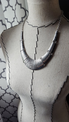 Antique Silver Statement Collar Necklace