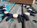 Purple, Deep Grey/Blue, and Cream Wood Spike Necklace- Statement Necklace-READY to SHIP