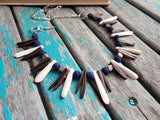 Navy and Neutral Wood Spike Necklace- Statement Necklace in Navy, Browns/Tans/Cream -READY to SHIP