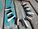Turquoise, Black, and Cream Spike Necklace- Statement Necklace-READY to SHIP