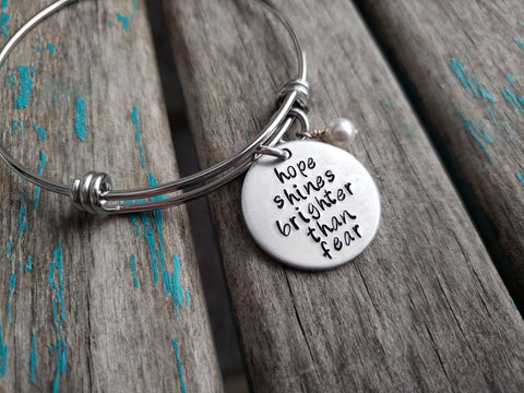 "Hope Bracelet- ""hope shines brighter than fear"" - Hand-Stamped Bracelet  -Adjustable Bangle Bracelet with an accent bead of your choice"