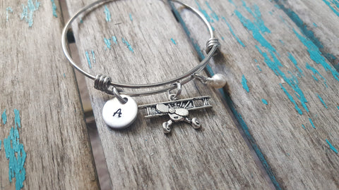 Airplane Charm Bracelet- Adjustable Bangle Bracelet with an Initial Charm and an Accent Bead of your choice