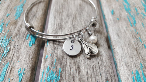 Horse Charm Bracelet- Adjustable Bangle Bracelet with an Initial Charm and an Accent Bead of your choice