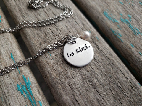 "Be Kind Necklace- ""be kind""- Hand-Stamped Necklace with an accent bead in your choice of colors"
