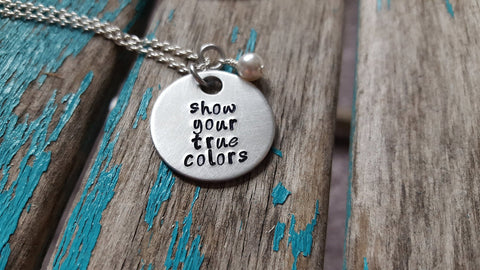 "True Colors Necklace- ""show your true colors"" - Hand-Stamped Necklace with an accent bead in your choice of colors"