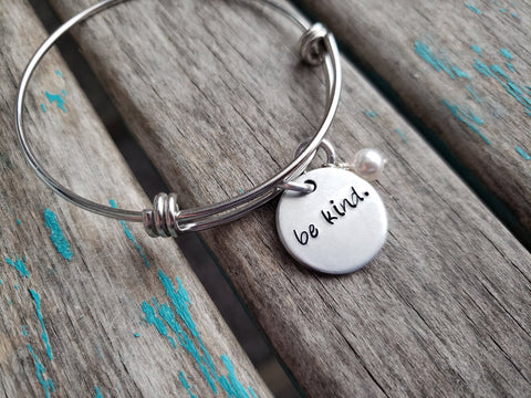 "Be Kind Bracelet- ""be kind"" - Hand-Stamped Bracelet  -Adjustable Bangle Bracelet with an accent bead of your choice"
