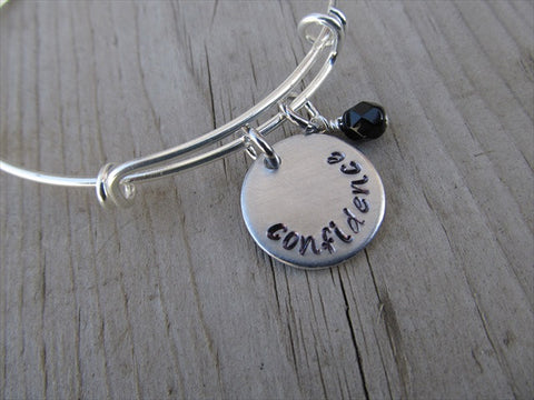 "Confidence Inspiration Bracelet- ""confidence""  - Hand-Stamped Bracelet  -Adjustable Bangle Bracelet with an accent bead of your choice"