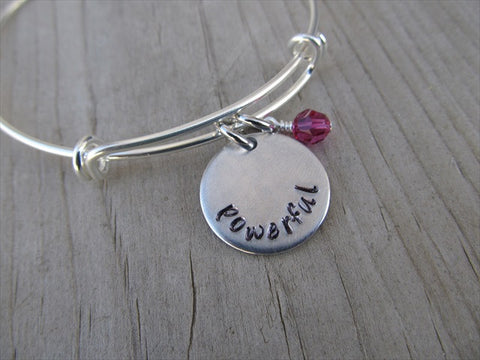"Powerful Inspiration Bracelet- ""powerful""  - Hand-Stamped Bracelet- Adjustable Bangle Bracelet with an accent bead of your choice"