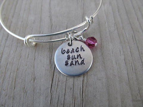 "Beach Sun Sand Bracelet- ""beach sun sand""  - Hand-Stamped Bracelet  -Adjustable Bangle Bracelet with an accent bead of your choice"