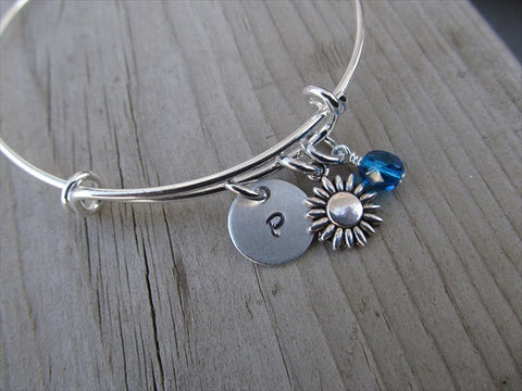 Flower Charm Bracelet- Adjustable Bangle Bracelet with an Initial Charm and an Accent Bead of your choice