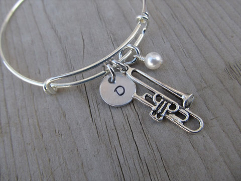 Trombone Charm Bracelet- Adjustable Bangle Bracelet with an Initial Charm and an Accent Bead of your choice