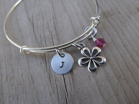 Flower Charm Bracelet- Adjustable Bangle Bracelet with Initial Charm and An Accent Bead of your choice