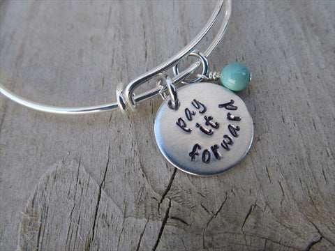 "Pay It Forward Bracelet- ""pay it forward""  - Hand-Stamped Bracelet- Adjustable Bangle Bracelet with an accent bead of your choice"