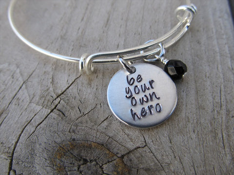 "Be Your Own Hero Bracelet- ""be your own hero""  - Hand-Stamped Bracelet  -Adjustable Bangle Bracelet with an accent bead of your choice"