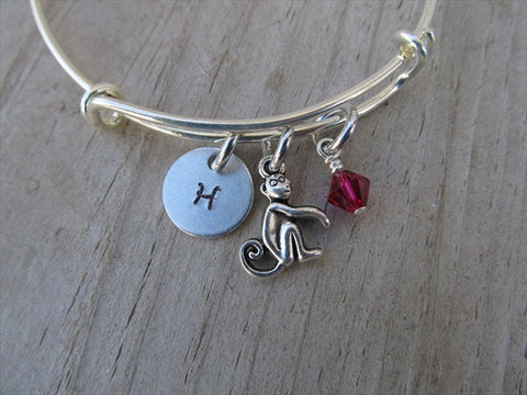 Monkey Charm Bracelet- Adjustable Bangle Bracelet with an Initial Charm and an Accent Bead in your choice of colors