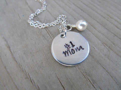 "Mother's Necklace- ""#1 Mom""  - Hand-Stamped Necklace with an accent bead in your choice of colors"