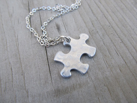 Silver Puzzle Piece Necklace - Textured Puzzle Piece Pendant with Chain