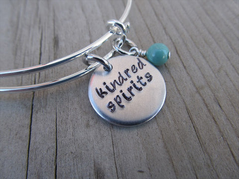 "Friendship Bracelet- Hand-Stamped ""kindred spirits"" - Hand-Stamped Bracelet- Adjustable Bangle Bracelet with an accent bead of your choice"